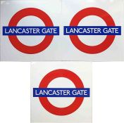 Trio of London Underground PLATFORM ROUNDEL SIGNS from Lancaster Gate station on the Central Line.