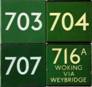 Selection (4) of London Transport coach stop enamel E-PLATES comprising Green Line routes 703,