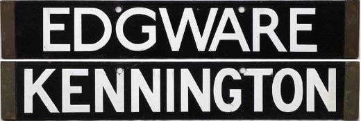 London Underground 1938-Tube Stock enamel CAB DESTINATION PLATE for Edgware / Kennington on the