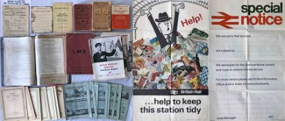 Quantity of 1920s onwards RAILWAY EPHEMERA incl a folder of WW2 Southern Railway memos re air-raid