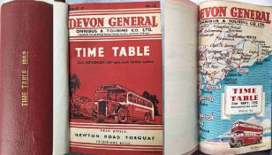 1952 officially-bound volume of TIMETABLES for Devon General Omnibus & Touring Co Ltd. Contains