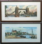 Pair of railway CARRIAGE PRINTS from the LNER post-war series comprising 'London, Tower Bridge' by