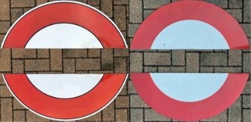 Two pairs of London Underground enamel 'HALF-MOONS' from platform bullseye or roundel signs. One