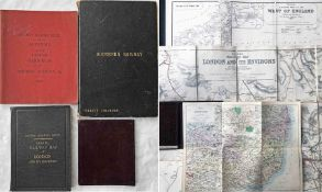Railway MAPS etc comprising, firstly, 3 x linen-backed, hard-cover maps: 1921 Railway Clearing House