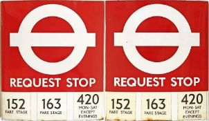 1980s London Transport enamel BUS STOP FLAG ('Request'), an E3 version with 3 e-stickers on each