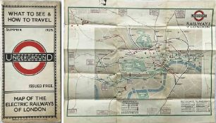 "1925 London Underground MAP of the Electric Railways of London ""What to see and how to travel"","
