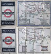 "Pair of 1920s London Underground MAPS OF THE ELECTRIC RAILWAYS OF LONDON ""What to See and How to"
