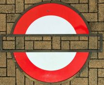 London Underground BRASS FRAME + 2 matching enamel 'HALF-MOONS' for a platform roundel sign. The bar