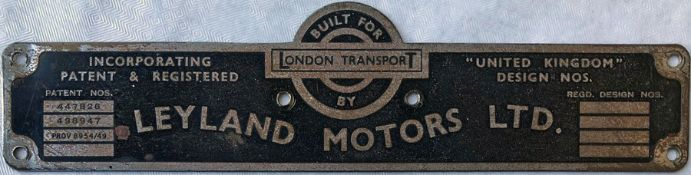 London Transport bus BODYBUILDER'S PLATE for Leyland Motors Ltd from one of the 500 RTW-type Leyland