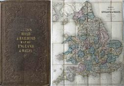 "1847 Bett's Road & Railroad MAP of England & Wales ""compiled from the latest Parliamentary"