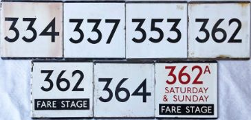 Selection (7) of London Transport bus stop enamel E-PLATES comprising 334, 337, 353, 362, 362 Fare