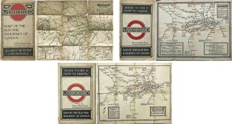 Selection (3) of early London Underground POCKET MAPS comprising undated (c1914) issue (fragile with