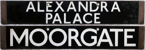 London Underground 1938-Tube Stock enamel CAB DESTINATION PLATE for Alexandra Palace / Moorgate on