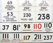 Selection (16) of London Transport larger E-PLATES as used at bus stations etc. A variety of routes,