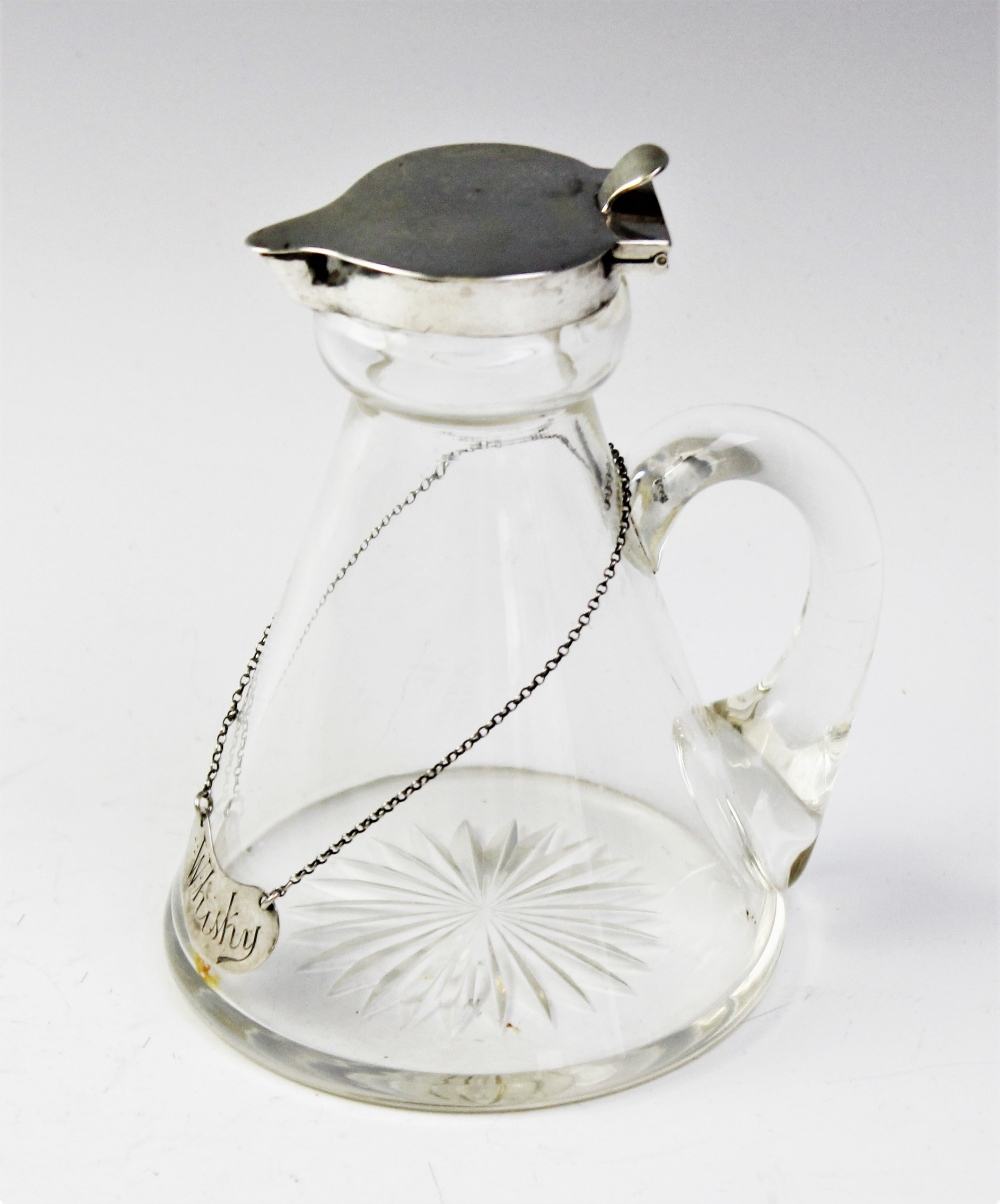 An Edwardian silver mounted glass whiskey noggin by James Deakin & Sons, Chester 1905, of typical - Image 2 of 2