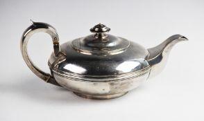 A George IV silver teapot by Rebecca Emes & Edward Barnard I, London 1828, of squat circular form
