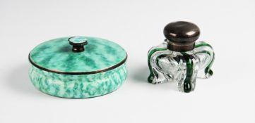 An Art Deco silver enamelled powder pot by Goldsmiths & Silversmiths Company Ltd, London 1934, of
