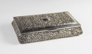 An Edwardian silver mounted box by Henry Matthews, Birmingham 1903, of rectangular form with