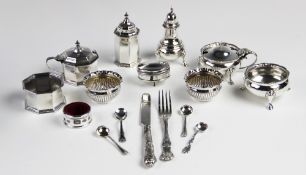 A George V silver condiment set by Edward Barnard & Sons Ltd, London 1936, each of baluster form