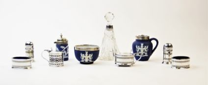 A selection of silver and silver plated tableware, to include a silver wet mustard by Haseler