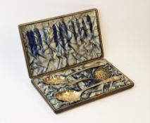 A George IV boxed silver gilt strawberry set by Robert Gainsford, Sheffield 1826, comprising two