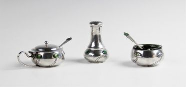 An Arts & Crafts silver and enamel part condiment set by George Lawrence Connell, London 1903,