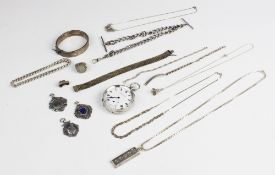 A selection of silver antique and modern jewellery and accessories, to include a George V open