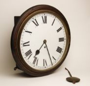 A late 19th century mahogany cased drop dial fusee wall clock, the 28cm white enamelled dial applied