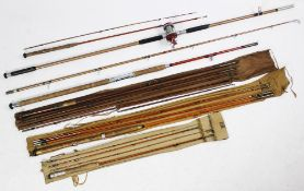 Five assorted fishing rods, comprising; an Ogden-Smith four-piece split cane rod, a Reliance