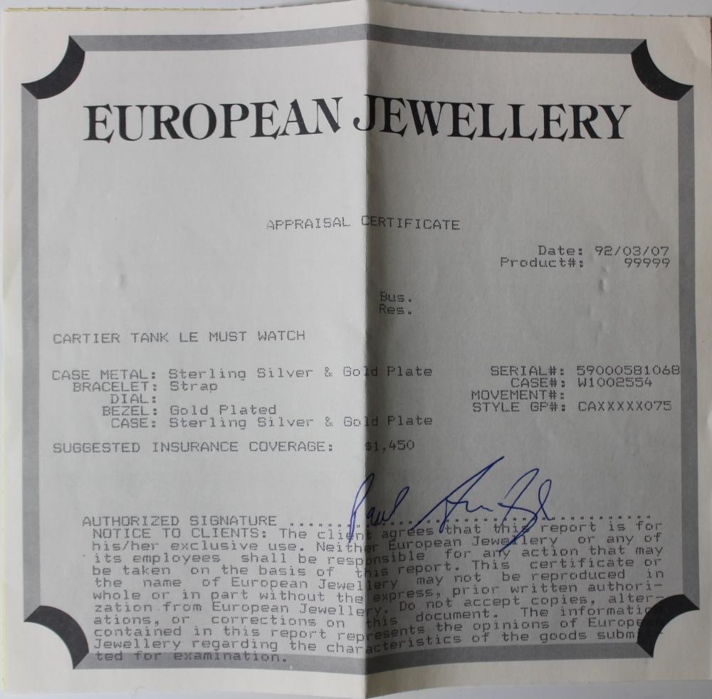 A ladies Must de Cartier silver gilt Tank Vermeil wristwatch, the rectangular cream dial with Arabic - Image 6 of 8