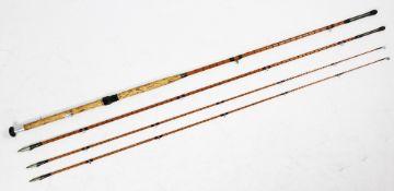 """A three-piece split cane Salmon fly fishing rod by J.J.S. Walker, Brampton, Alnwick, 54"""", 52"""", 51"""","""
