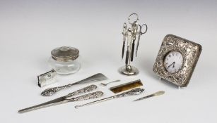 A selection of silver and white metal lady's dressing table accessories, to include an Edwardian