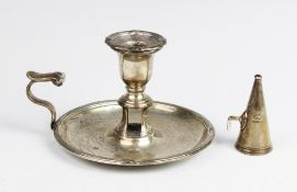 A William IV silver chamberstick by Waterhouse, Hodson & Co, Sheffield 1832, circular base with