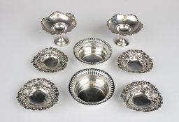 A pair of Edwardian silver bon-bon dishes by A & J Zimmerman Ltd, Birmingham 1903, each of