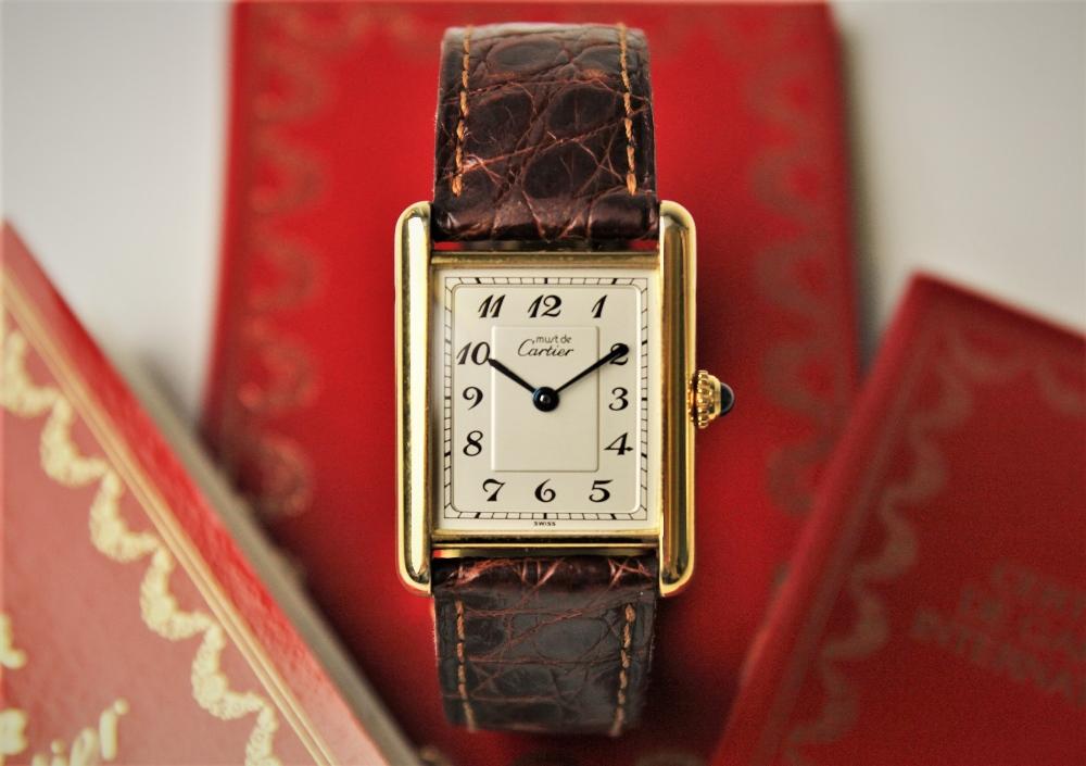 A ladies Must de Cartier silver gilt Tank Vermeil wristwatch, the rectangular cream dial with Arabic