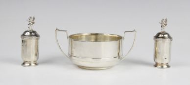 A George V twin-handled sugar bowl by William Hutton & Sons, Birmingham 1922, of plain polished