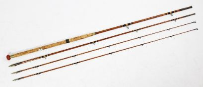 A three-piece split cane Salmon fly fishing rod by 'J. Forrest of 24 Thomas St, Oxford St, London',
