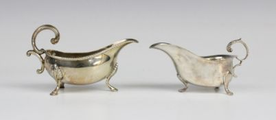 A silver sauce boat by Hampton Utilities, Birmingham 1979, of typical form with reeded border and