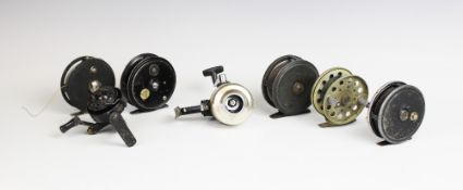 A collection of seven assorted fishing reels, to include; A S. Alcock & Co Ltd 'The Superb' fixed