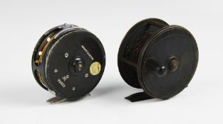 """A Victorian brass 3.5"""" fishing reel by Charles Farlow & Co, 191 Strand, London, with a Farlow's"""