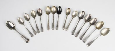 A selection of George III and later silver teaspoons, to include three by Thomas Northcote, London