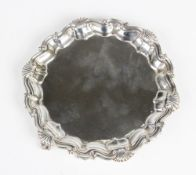A Victorian silver salver by Martin, Hall & Co, London 1887, of hexagonal form with pie crust border