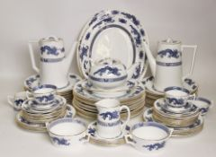An extensive Hammersley blue and white dragon pattern dinner service, pattern number E570,