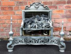 George III style polished steel converted fire insert, the cast scroll back above the fire insert