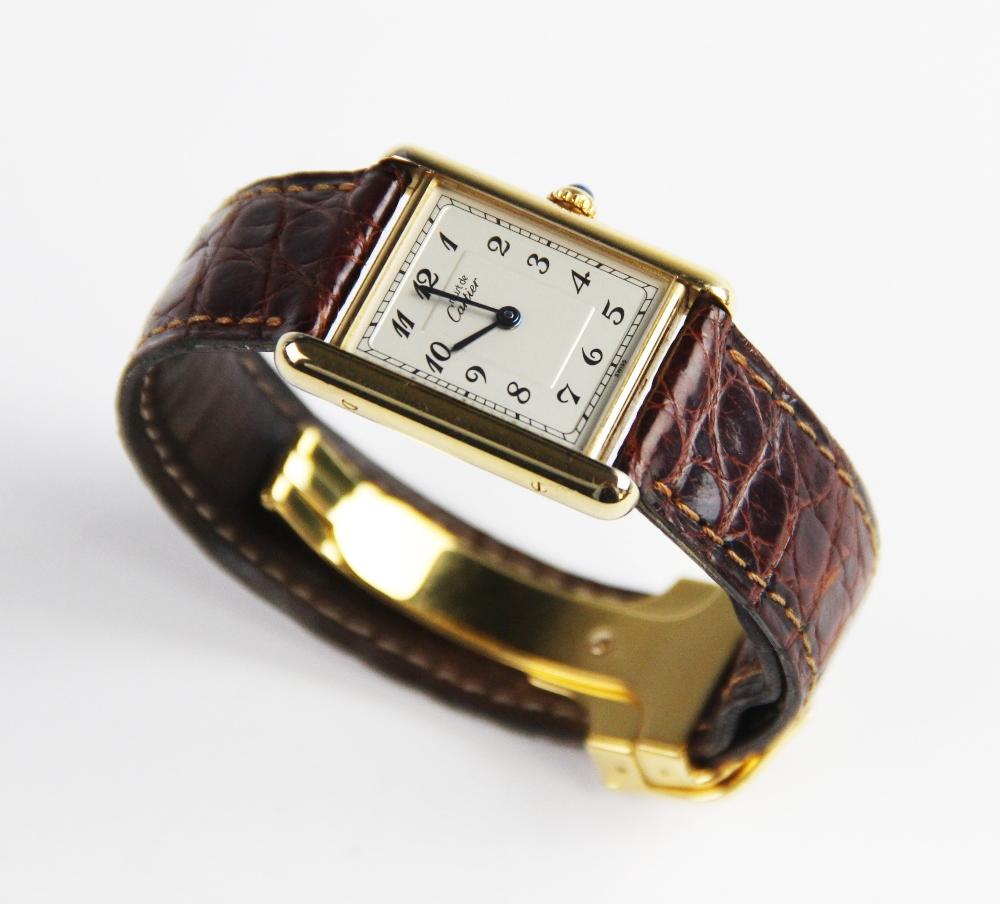 A ladies Must de Cartier silver gilt Tank Vermeil wristwatch, the rectangular cream dial with Arabic - Image 3 of 8