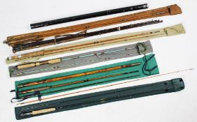 Six assorted fishing rods, to include; 'The Warrior' rod two-piece split cane, a four-piece split