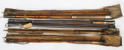 A collection of four fishing rods, comprising; A C. Farlow & Co Ltd two-piece split cane 'Jubilee'
