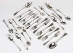 A Victorian part suite of Old English thread pattern cutlery by John & Henry Lias, London 1845,