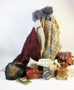A selection of vintage clothing, textiles, dress making equipment and accessories, to include a
