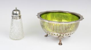 An Edwardian silver mounted cut glass sugar caster by Richard Owen Williams, Chester 1908, of